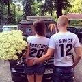 Juntos Desde A Juego Parejas T Shirt Amor Matrimonio Aniversario Tops Tee Camisetas de Su Año de Color Para Los Hombres de Las Mujeres T-shirt