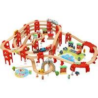 Деревянный игрушечный поезд литья под давлением, Многоуровневый Набор деревянных треков, совместимых с другими брендами деревянных треков