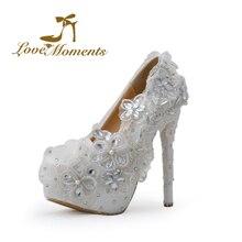 2016Luxury fashion  sweet lace flowers with rhinestone wedding shoes white bridal high heels  pumps platform large size40-44