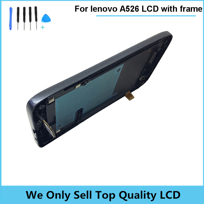 Black LCD for Lenovo A526 LCD Display with Frame + Touch Screen Digitizer Replacement parts wholesale DHL free ship 10pcs/lot replacement lcd for huawei p9 plus display screen with touch screen digitizer with frame assembly wholesale 10pcs lot free dhl