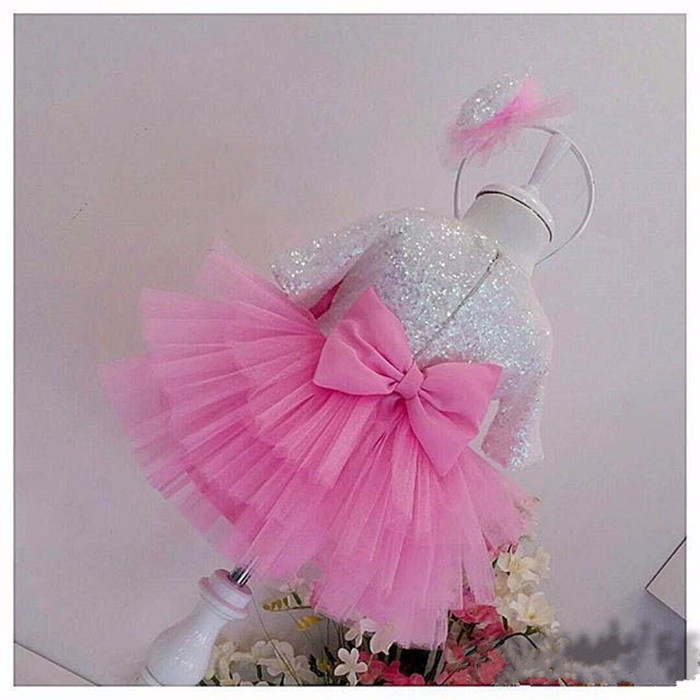 2017 Bling Sequin Blush Pink flower girl dress with Bow beauty pageant dresses for kids baby Birthday Party Dress Baptism gowns
