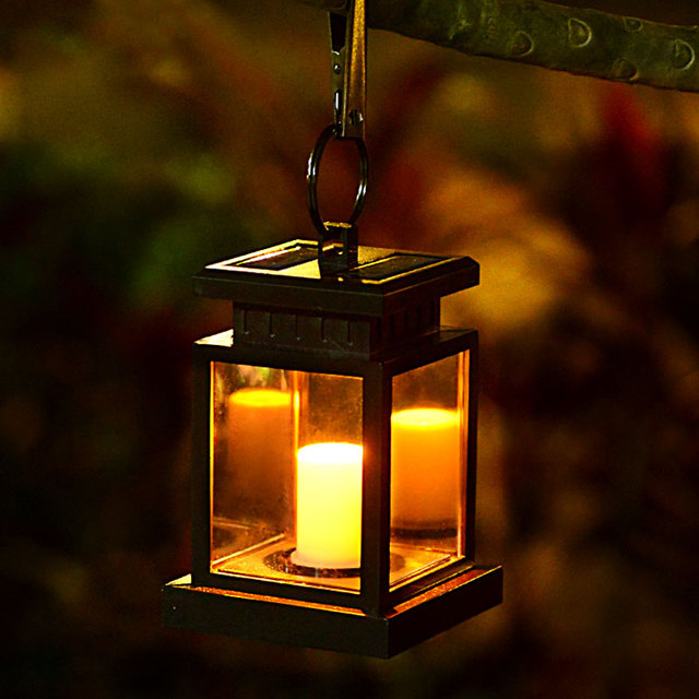 Led Solar Powered Wall Lamp Umbrella Lantern Candle Lights