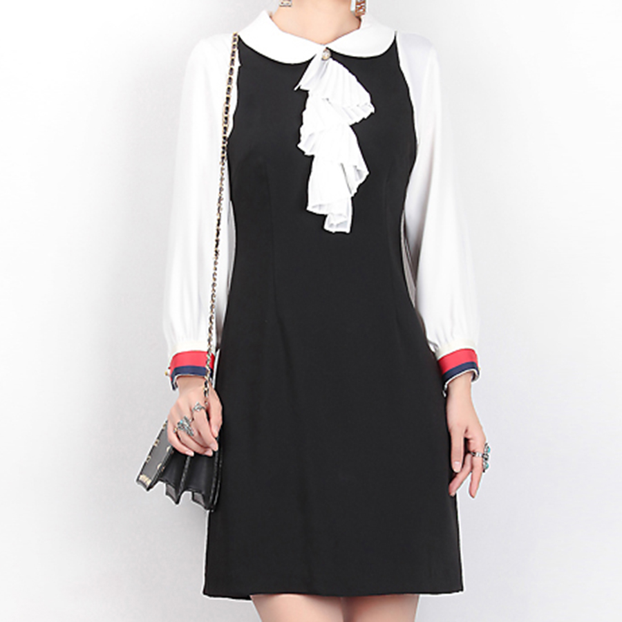 Black dress with white peter pan collar - Brief Work Dresses 2017 Spring Summer High Quality White Black Patchwork Fashion Full Lantern Sleeve