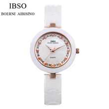 IBSO Moda Cerámica De la Venda de Reloj de Pulsera de Perlas de Cristal Blanco De Lujo Mujeres Reloj de Cuarzo Analógico Relogio Feminino IB16