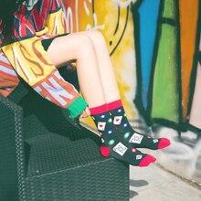 1 пара MenWomen модные нескользящих носочков Повседневное из чесаного хлопка, Дышащие Носки с рисунком животных цветок Творческий Смешные забавные носки Высокое качество