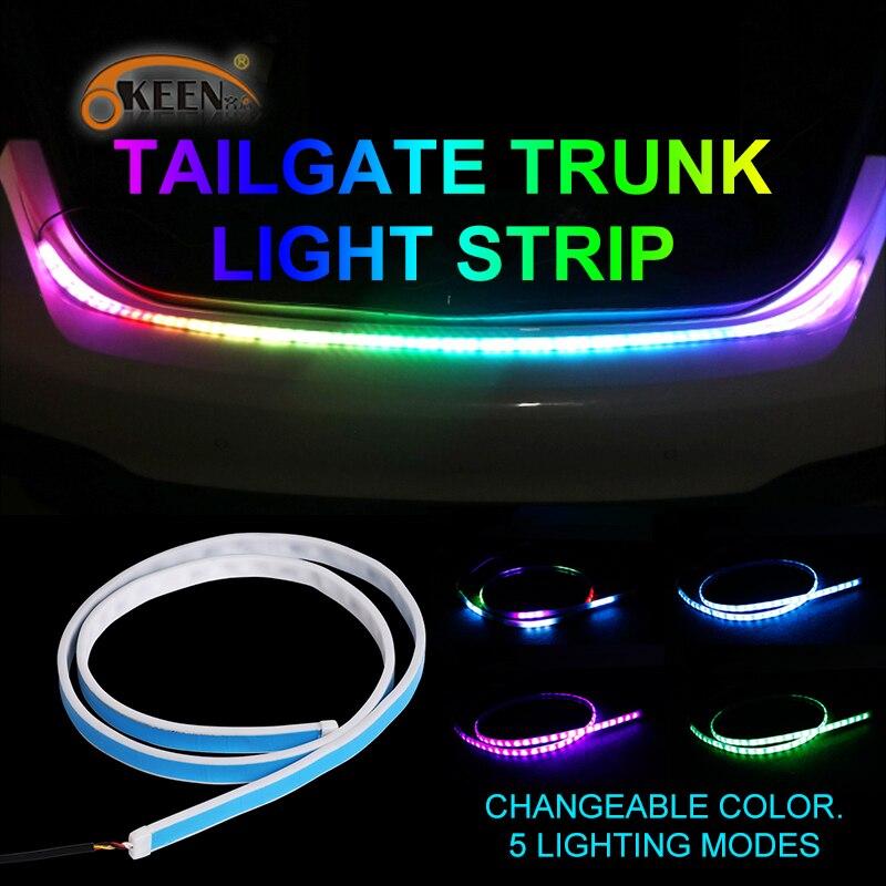 OKEEN Flexible LED Car Trunk Tailgate Light Bar RGB 12V 72LED 121cm Running/Brake lamp/Reverse/Signal/Rear Strip Light Lamp