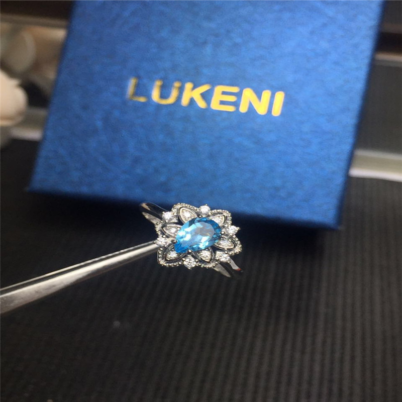 Natural Stone Blue Topaz Engagement Ring Women 925 Sterling Silver Gemstone Rings Fine Jewelry Female Gift