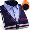 2017 Novo Inverno Casuais Camisas de super quentes Homens Falso de duas peças de Manga Comprida splicing Camisa Masculina Camisas de Vestido Camisa Masculina