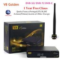 [Genuine] V8 Dourado DVB-S2 + T2 + C TV Por Satélite Suporte Newcamd Bisskey PowerVu Receptor Combo n USB Wifi (Opcional)