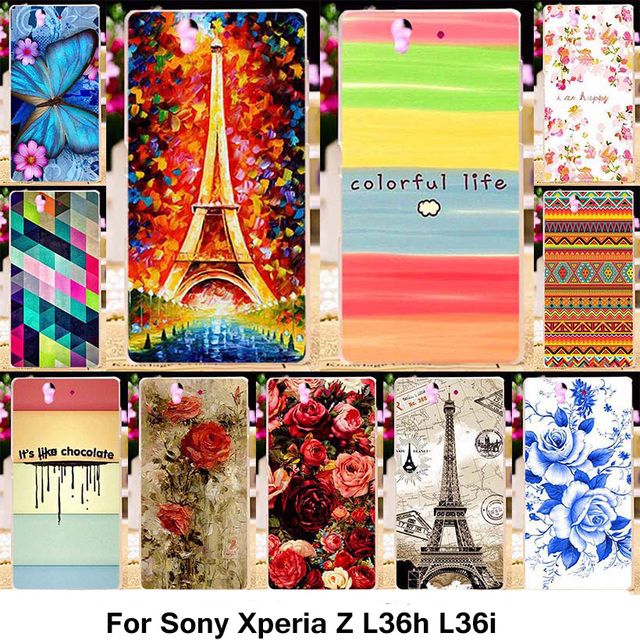 TAOYUNXI Silicone Phone Cover Case For Sony Xperia Z L36h C6602 5.0 inch C6603 L36i Case TPU Plastic Rose Peony Flowers Cover