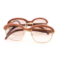 Vintage Wooden Sunglasses Women Men Wrap Sun Glasses Gafas For Club and Driving Round Clear Glasses Retro Shades Eyewear Goggles