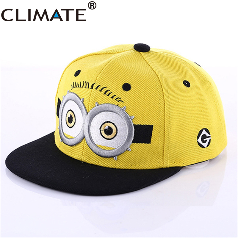 CLIMATE Funny Cute Yellow Snapback Caps Men Women Teenagers Kid Child Hiphop Street Hat Cartoon Embroidery Big Eyes Caps climate 2017 pocket monster go game pikachu flat snapback caps adult men women animation cartoon cute comic orange eevee hat cap