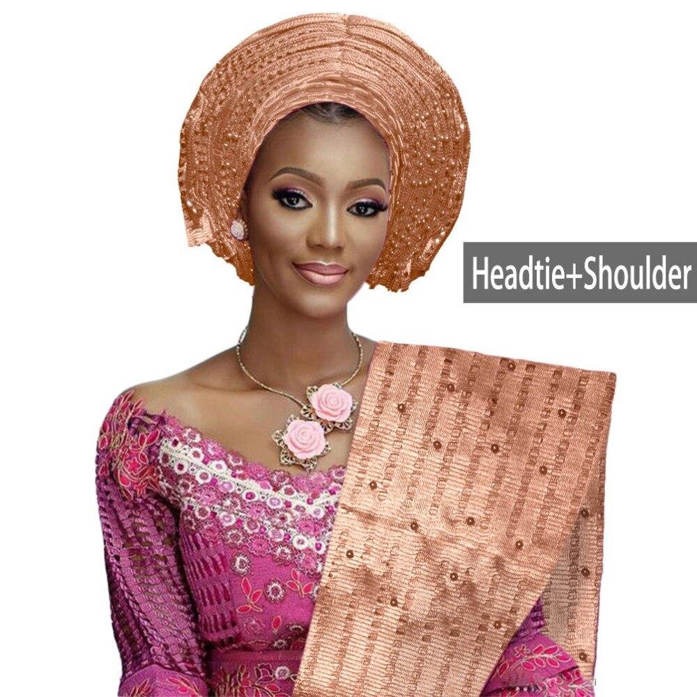African aso oke gele headtie beaded headwrap Nigerian&African Wedding Party auto gele (12)