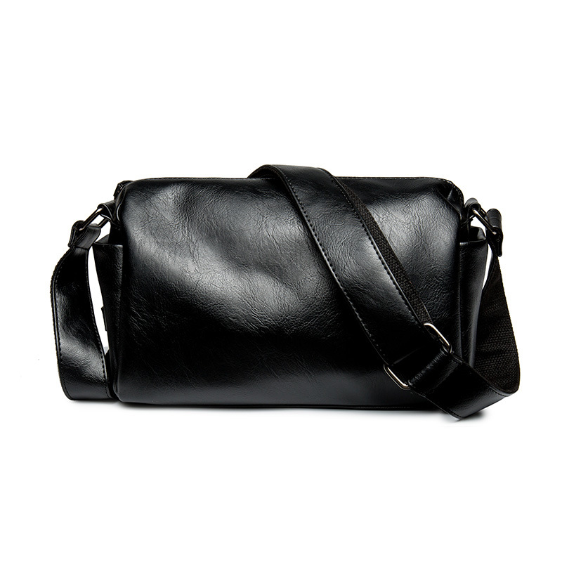 PU Leather Male Barrel-Shaped Shoulder Bag Large Capacity Crossbody Bag Men Messenger Bag Black