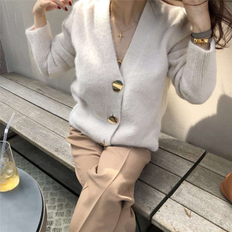 RUGOD Solid Elegant Women Cardigans Casual V-Neck Cashmere Knitted Women Sweaters Slim Autumn Winter Clothes jersey mujer 19 5