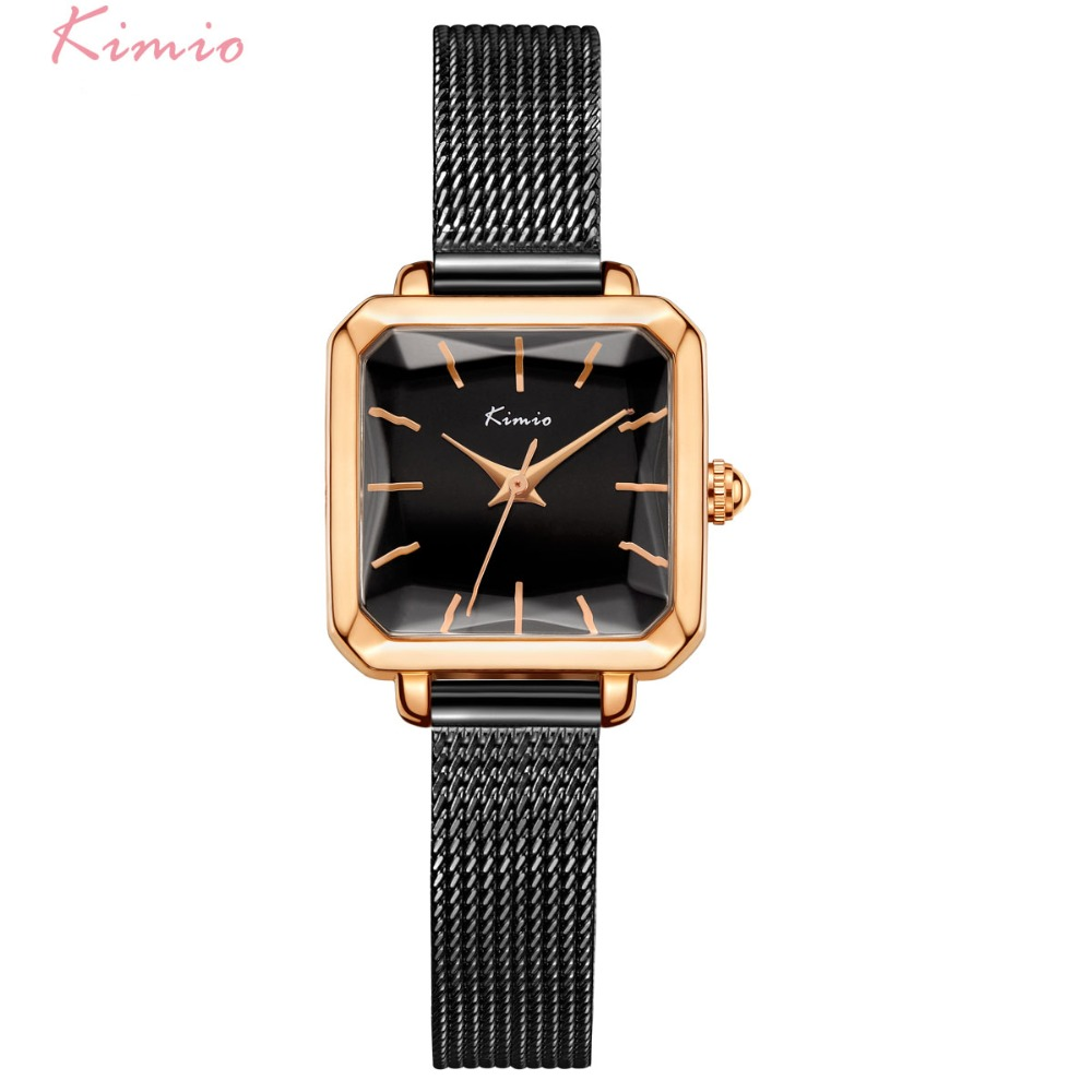 Kimio Women Milanese Mesh Bracelet Watches Ladies Rectangular Multi-faceted Dial Dress Watch For Woman Female Clock With Box kimio women s hollow bracelet watches luxury ladies multi faceted dial babysbreath dress watch for women female clock with box