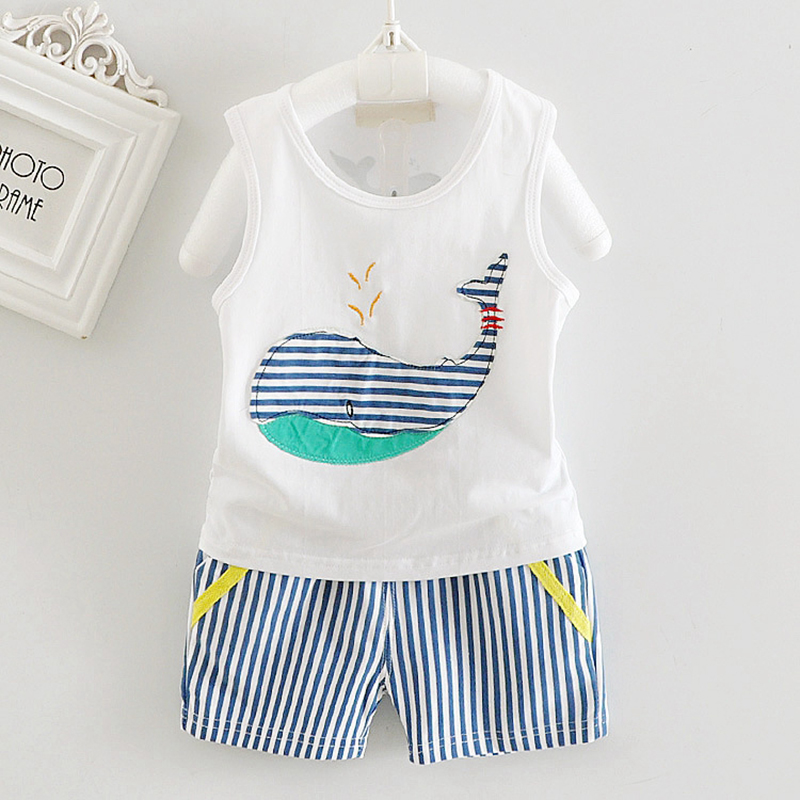 2017 Summer 2pcs Toddler Baby Boys Tracksuits Children Cartoon Sports Suits Kids Sleeveless Vest + Striped shorts Clothes Outfit
