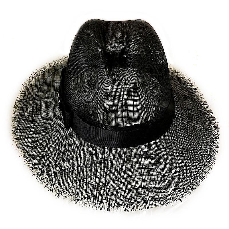 12509a917 2018 Summer Straw Hat Fashion Casual Black Ladies Panama Wide Brim Beach  Hat Sun Hats For Women