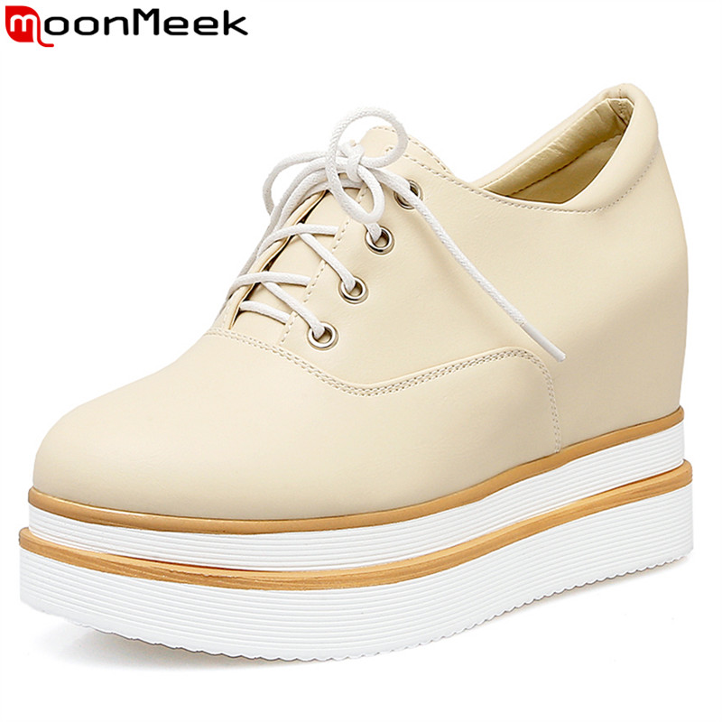 MoonMeek Large size 34-42 high quality lace up women pumps round toe solid color pu leather platform  shoes white black