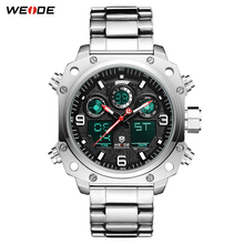лучшая цена WEIDE Sport Watch Casual Business Auto Date Stopwatch Analog Digital Stainless Steel Band Quartz Wristwatch Relogio Masculino