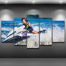 Canvas HD Printed Cuadros Paintings Modular Posters 5 Panel Sports Motorboat Sea Home Decor Tableau Wall Art Modern Pictures(China)