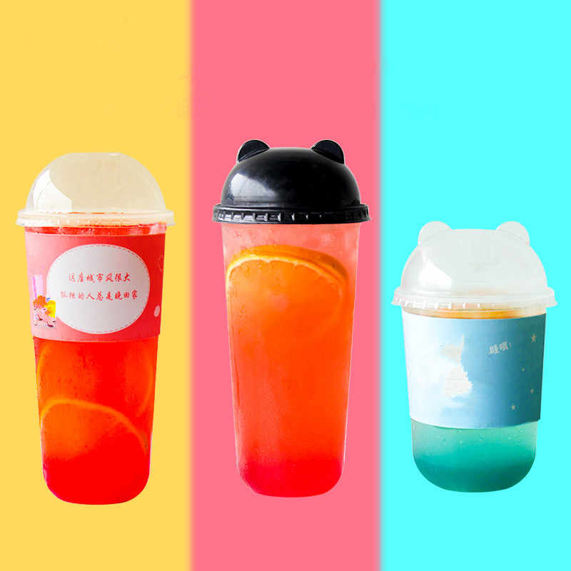 50pcs Transparent Beverage Cup 500ml/700ml Juice Milk Tea Packaging Cups Disposable Coffee Cup With Lids Party Christmas Favor