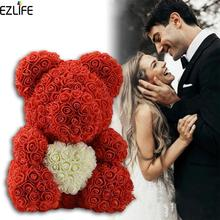 38cm/23cm Bear of Roses With Heart Big Red Rose Bear Flower Artificial Decoration Christmas Gifts For Women Valentines Gift