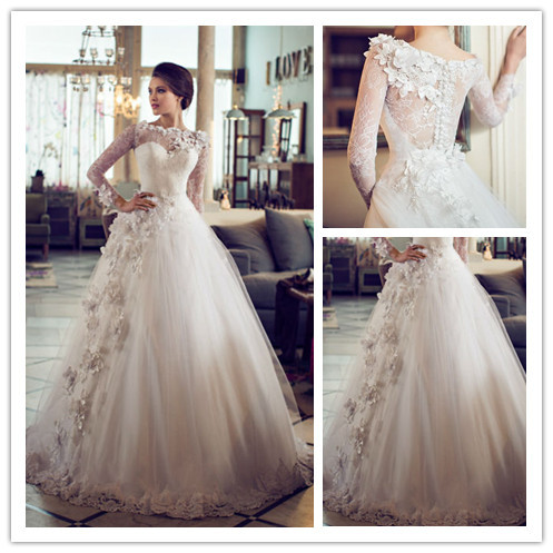 MANSA Luxury High Neck Long Sleeves Lace Tulle Ball Gowns Wedding Gown  Sweet Train Romantic Wedding 1decbf8f69a5