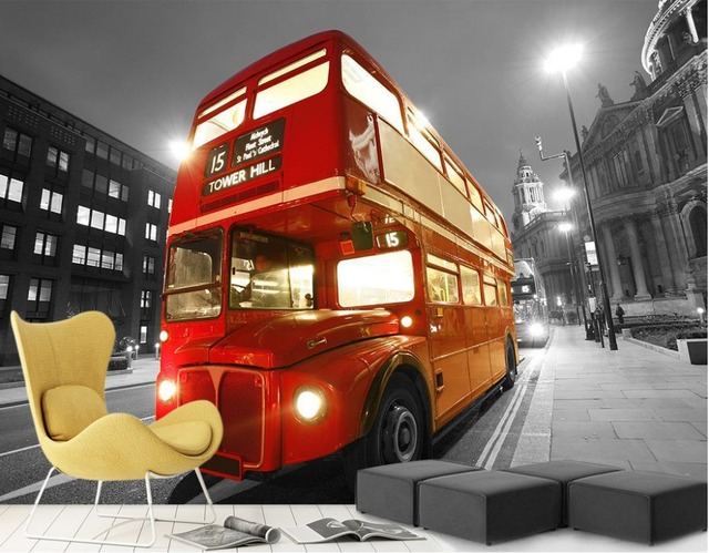 Wallpapers For Living Room London Double Decker Bus Street Night