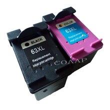 2 Refilled ink Cartridges for HP 63 XL Envy 4520 4512, Officejet 4655 3830 4650 Deskjet 2130 3632 3636 Printer
