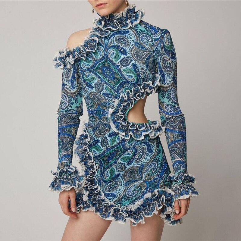 2019 robe d'été femmes Vintage dentelle bleu robes à manches longues Sexy volants robes asymétriques vacances et Vocation femmes robe