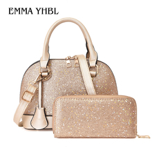 EMMA YHBL  Womens new fashion sequined hand shell bag Korean version of single-shoulder cross-body wallet tote