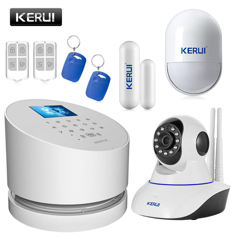 New KERUI TFT color LCD Display WiFi GSM PSTN Home Office Security Alarm System ios android remote control with wifi ip camera