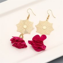 Fashion ZA Flower Drop Earring For Women Wedding Jewelry Boho Elegant Gold Dangle Statement Earrings Ladies Spring Earrings(China)