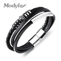 Modyle Multilayer Leather Bracelets For Men Magnet Buckle Cool Man Hamdmade Braided Rope Bracelet