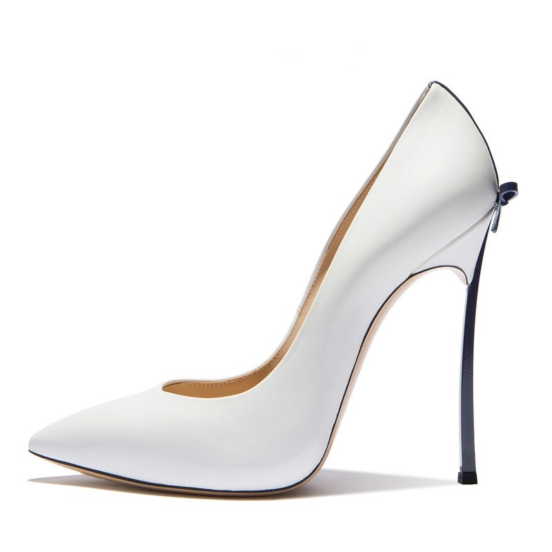 Sexy Bow Blade Pumps 2018 Spring Fashion Nude Leather Women Pointed Toe Shoes Metallic Stiletto High Heels Designer Women Pumps gaozze fashion polka dot mesh women sexy stiletto high heel shoes pointed toe party shoes pumps women heels pumps 2018 spring