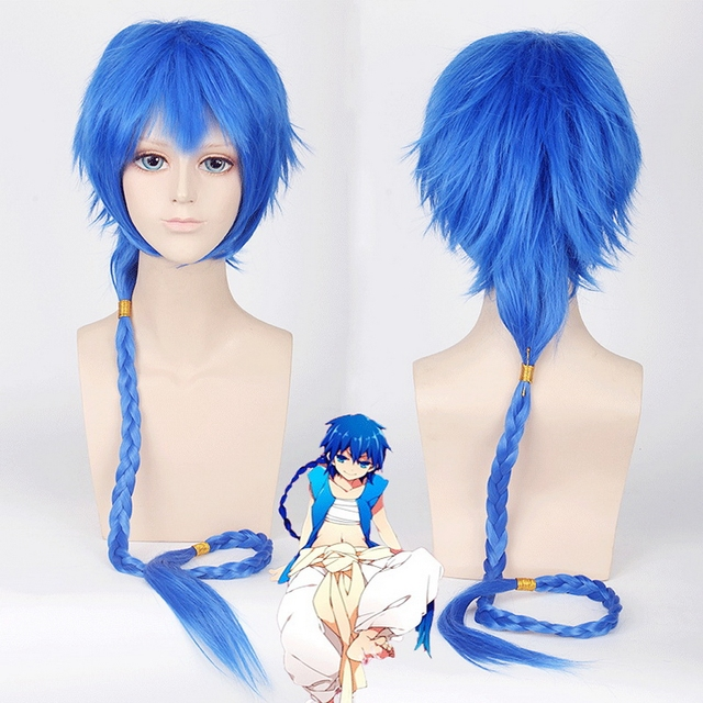 Magi Aladdin Cosplay Wig Synthetic Blue Hair With Long Braid