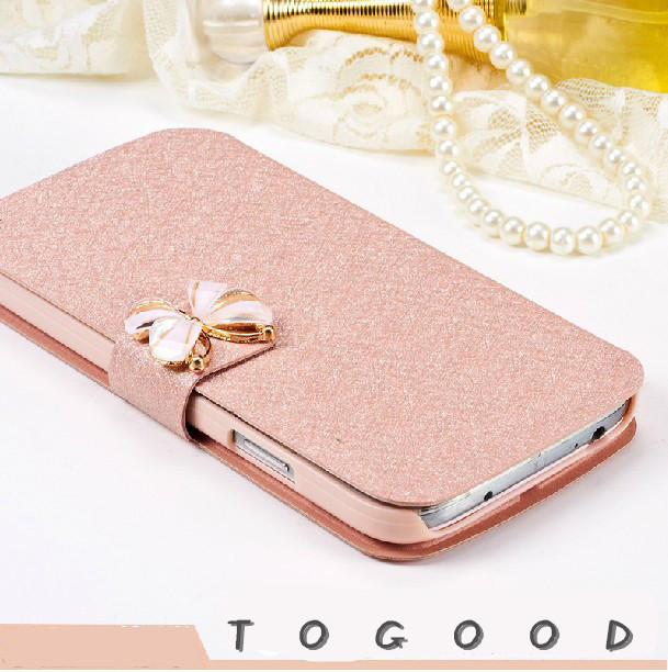 Luxury Fashion Butterfly Silk Pattern Flip PU Leather Phone Case Cover For Fly IQ 4415 Era Style 3 With Stand Free Shipping