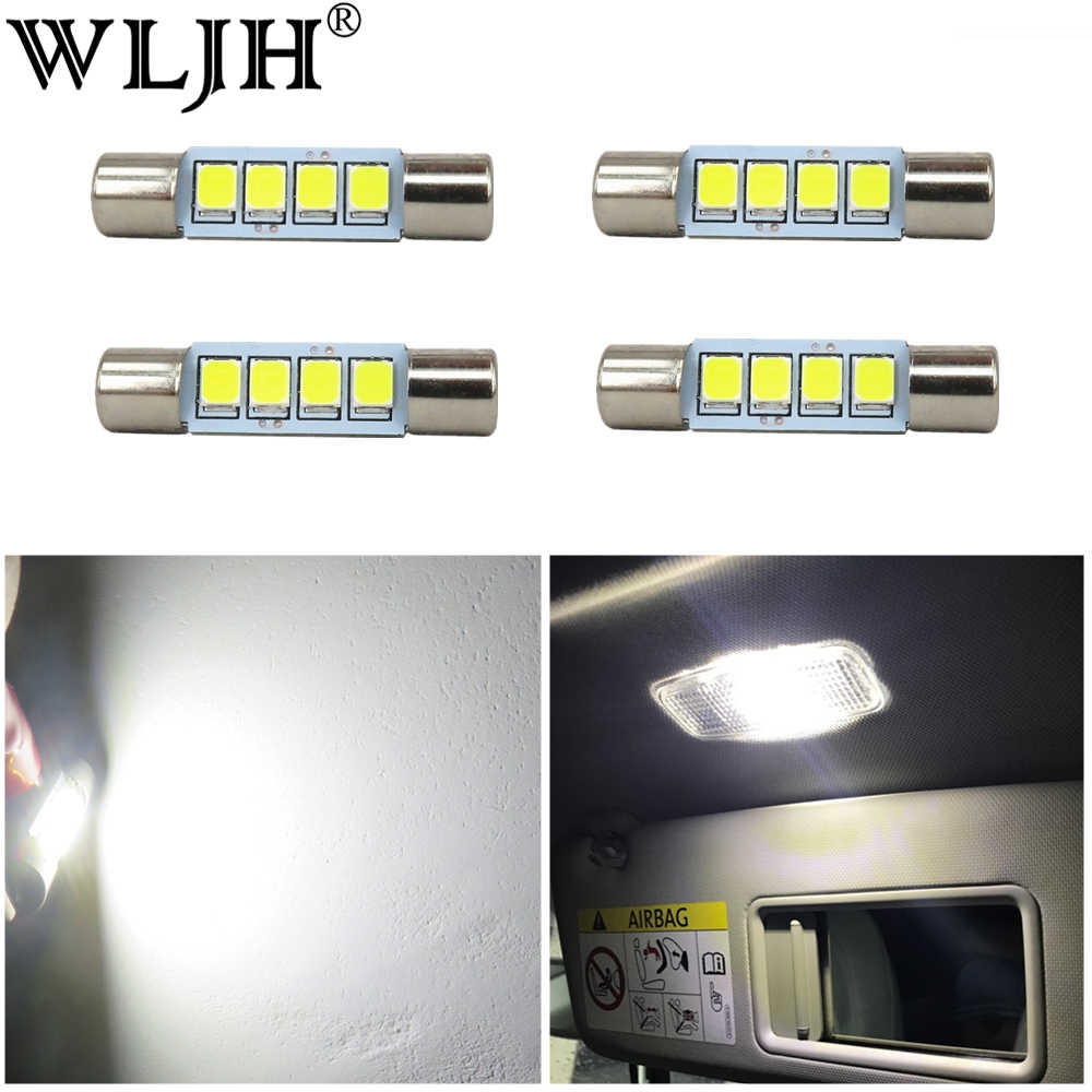 WLJH 4x White 2835 Chips 28mm 29mm Festoon Led Bulb 4-SMD 6614F 6612F for Car Interior Vanity Mirror Sun Visor Dome Map Lights