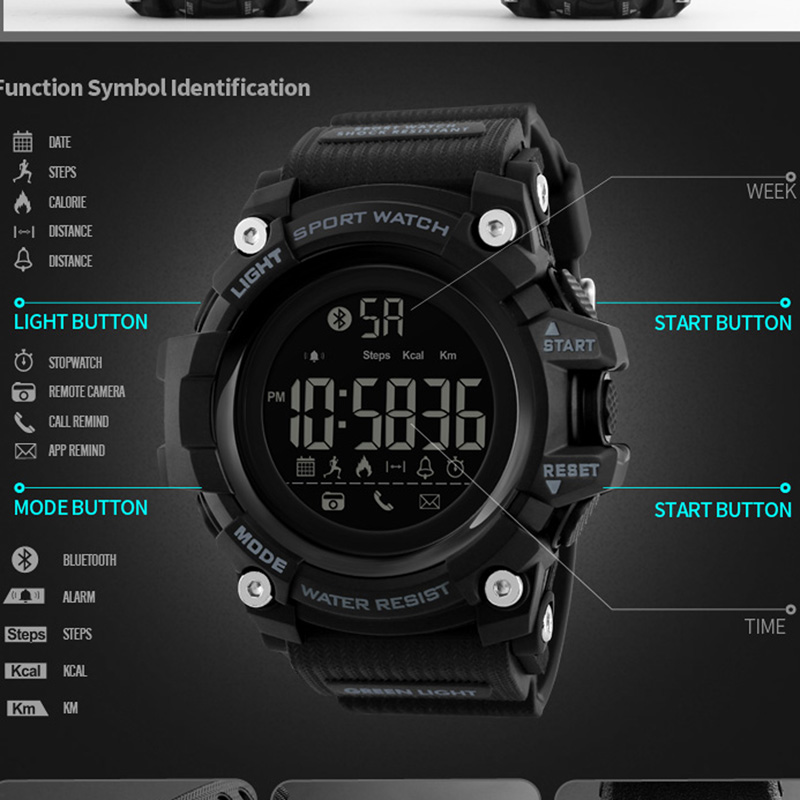 US $20 89 43% OFF Smartwatch Pedometer APP Call Remind Smart Wristband  Sleeping Monitor Remote Camera Men Smart Watch For Android IOS SKMEI  2018-in