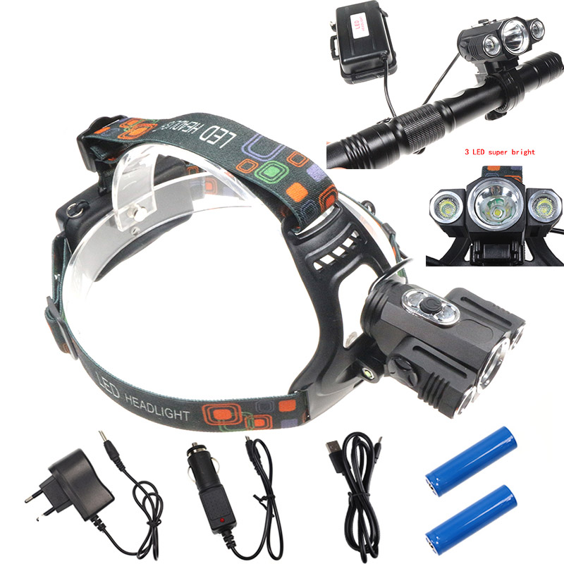 4 Modes Cycling Lamp Functional Waterproof 3 LED Headlamp XML-T6+2Q5 8000 Lumens Bike Lamp Mining Fishing Head Light Searchlight ...