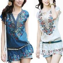 New Fashion casual women clothing summer dress 2017 shirt vestidos folk style embroidery vestido party female blouses dresses