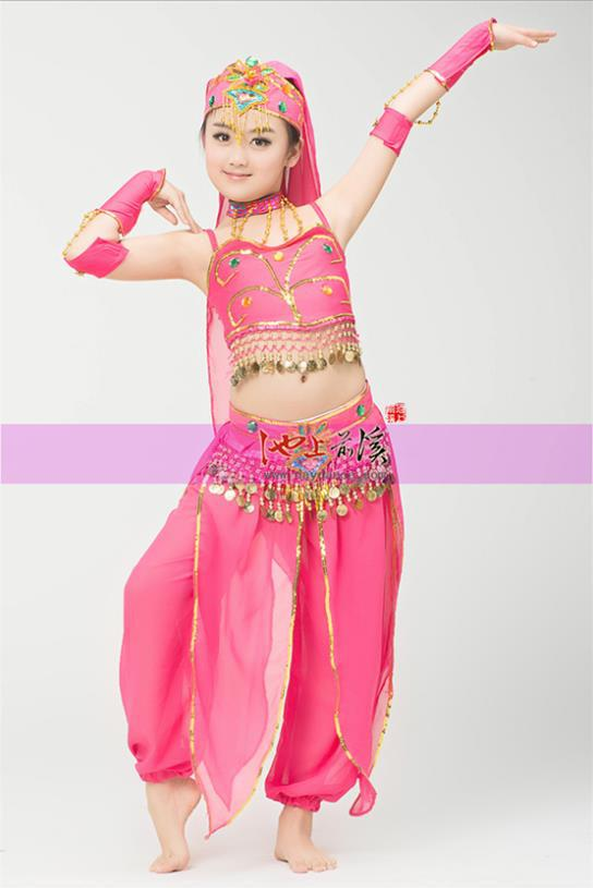 2014 New Indian Red Tube Kids Belly Dance Coin Belt Hip -9764