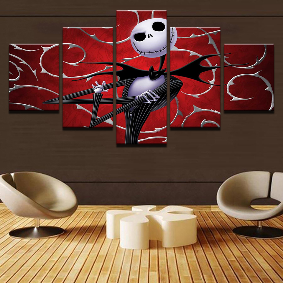Canvas Prints Wall Art Pictures 5 Pieces Hallowmas Jack Skellington ...