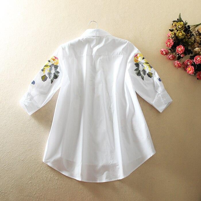 Женская рубашка, винтажная, с цветочной вышивкой, на весну, 2019