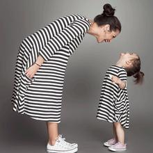 Family Fitted Dress Mother&Daughter Striped Sleeve Dress Casual family cloth Women Girls Dress #2415