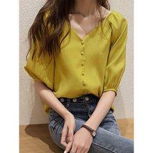 Summer Korean Women Blouses Vintage Simple Chiffon Sexy Office Loose Button Lantern Sleeve Elegant Ladies Tops Fashion Shirts