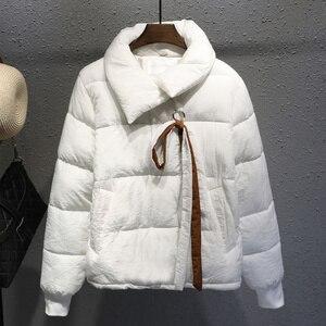 Image 2 - בתוספת גודל XXXL קצר כותנה מעיל נשים Harajuku סגנון חורף מעיל נשים Chaqueta Mujer לחם מעיל כותנה מעיל Parka C4900