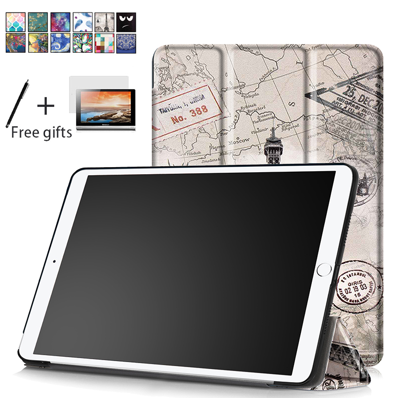 Tablet Case For New iPad 10.5 2017 Smart Cover Funda Ultra Thin Tri-Folding PU Leather Case Shockproof Skin + Screen protector back shell for new ipad 9 7 2017 genuine leather cover case for new ipad 9 7 inch a1822 a1823 ultra thin slim case protector