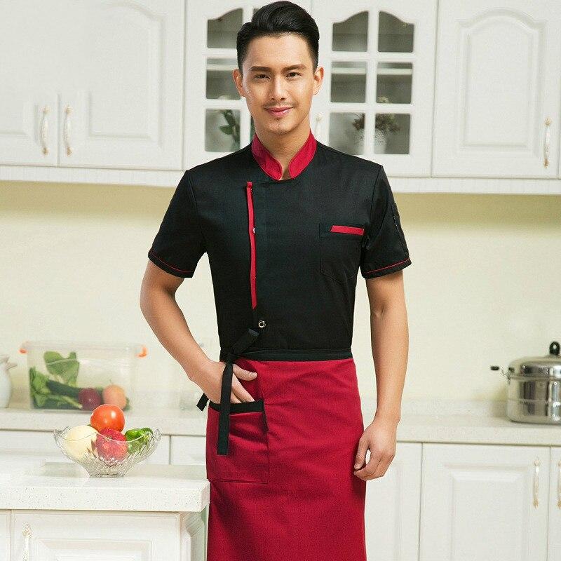 2017 Musim Panas Makanan Layanan Desain Chef Seragam Restoran Hotel Dapur Memasak Pakaian Putih Merah Hitam Di Jaket Dari Novelty Khusus
